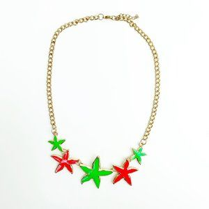 Jewelry - Hot Pink and Green Starfish Necklace Gold Chain